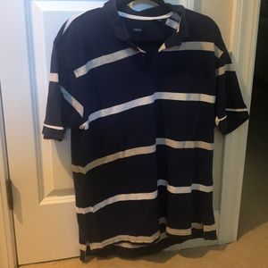 Izod Navy Blue Striped Polo Shirt